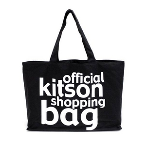 KITSON(キットソン) KHB0167 ロゴ ショッピングエコトートバッグ ブラック×ホワイト