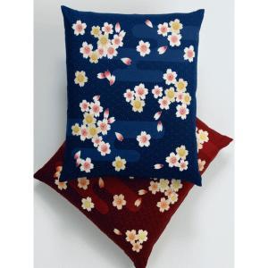 八端判 座布団カバー 霞桜(同色5枚組) 紺