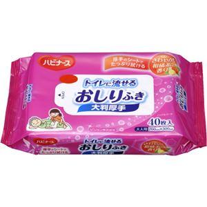 ハビナース トイレに流せるおしりふき 大判厚手 40枚入 【11セット】