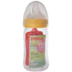 ピジョン哺乳びん 母乳実感 耐熱ガラス製 160ml オレンジイエロー 【2セット】