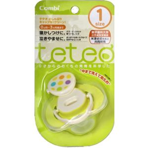 teteo コンビ おしゃぶりキャップ付 サイズ1 グリーン 【4セット】