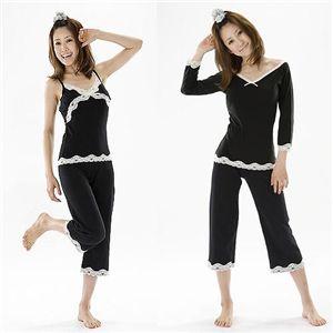 寝ながらシェイプボディパジャマ(トップス・キャミソール・パンツ・巾着袋) L