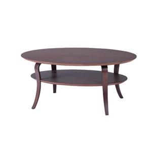 オーバル型リビングテーブル ブラウン