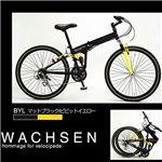 WACHSEN 26インチ 18段変速 折り畳み自転車 BM-200 マットブラック×ビビットイエロー
