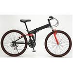 WACHSEN(ヴァクセン) 折り畳み自転車 BM200-BYL 26インチ 18段変速 ブラック/レッド (マウンテンバイク)