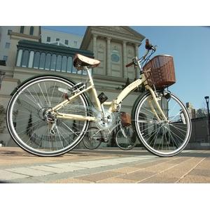 WACHSEN 26インチ 折畳式シティサイクル シマノ6段変速付 ホワイト/ブラウン