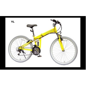 TRAILER(トレイラー) 26インチ 折りたたみマウンテンバイク 18段変速付き イエロー+ブラケット式ワイヤーロック+LED白色ライト