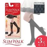 スリムウォーク スレンダーショート ショートストッキング 【3足セット】 ブラック ダイヤ柄S-M