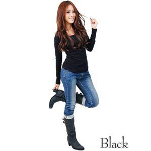 無地ロンTシャツ ブラック