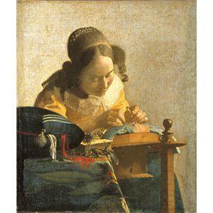 世界の名画シリーズ、プリハード複製画 ヨハネス・フェルメール作 「レースを編む女」
