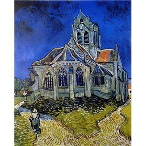 世界の名画シリーズ、プリハード複製画 ヴィンセント・ヴァン・ゴッホ作 「オ-ヴェ-ルの教会」