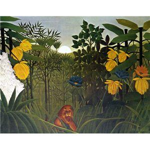 世界の名画シリーズ、プリハード複製画 アンリ・ルソー作 「ライオンの食事」