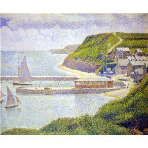 世界の名画シリーズ、プリハード複製画 ジョルジュ・スーラ作 「ポール・アン・ベサンの港」