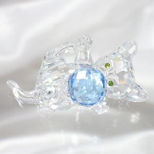 スワロフスキー 631857 子ネコ(ブルー) フィギュア