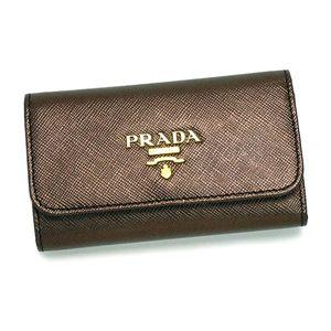 PRADA(プラダ) キーケース 1M0222 SAFFIANO METAL ORO カーキー/ブラウン