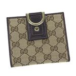 Gucci(グッチ) Wホック財布 NEW ABBEY 141411 WALLET-FLAP FRENCH 9643 ベージュ/ダークブラウン