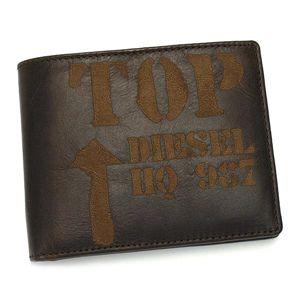 DIESEL(ディーゼル) 二つ折り財布(小銭入れ付) JEM-BOSS 00XP37 HIRESH EMBOSS T2178 ダークブラウン