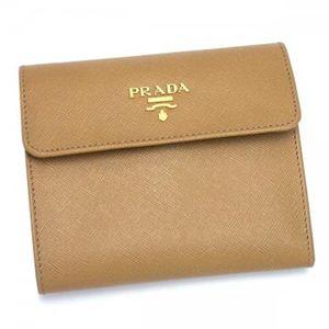 Prada(プラダ) 三つ折り財布(小銭入れ付) SAFFIANO METAL ORO 1M0170 ブラウン