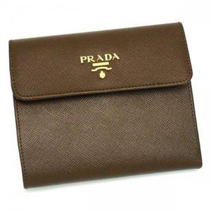 Prada(プラダ) 三つ折り財布(小銭入れ付) SAFFIANO METAL ORO 1M0170 F0054 ダークブラウン