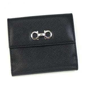Ferragamo(フェラガモ) Wホック財布 GANCINI ICONA VITELL 22A960 433597 ブラック H10.5×W12×D2.5