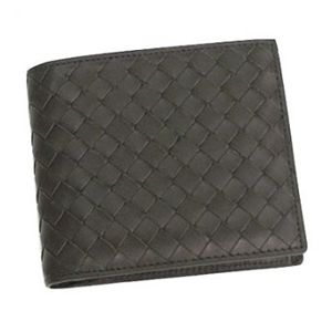 BOTTEGA VENETA(ボッテガベネタ) 二つ折り財布(小銭入れ付) P.FOGLIO INTRECCIATO 193642 2040 ダークブラウン H9.5×W11×D2