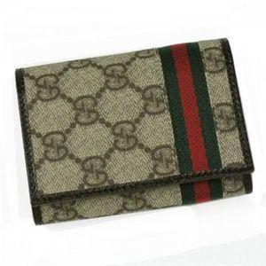 Gucci(グッチ) カードケース WEB 138043 9791 ベージュ/ダークブラウン H8×W10.5×D2.5