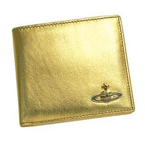 Vivienne Westwood(ヴィヴィアンウエストウッド) 二つ折り財布(小銭入れ付) NAPPA CALF 730V ゴールド H10.5×W11×D2.5