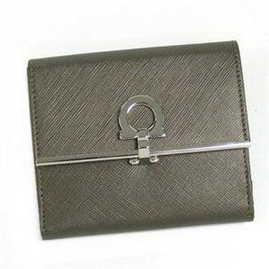 Ferragamo(フェラガモ) Wホック財布 GANCINI ICONA VITELL 224639 410988 シルバー H10.5×W12.5×D3.5