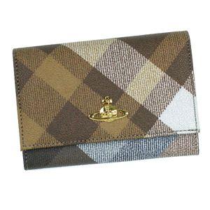 Vivienne Westwood(ヴィヴィアンウエストウッド) 二つ折り財布(小銭入れ付) DERBY 746V ブラウン (H9.5×W13.5×D2.5)