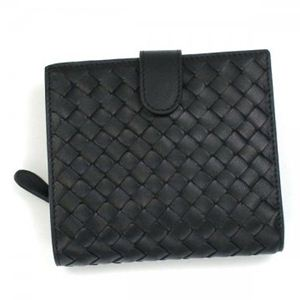 BOTTEGA VENETA(ボッテガベネタ) 二つ折り財布(小銭入れ付) PORTAMONETE INTRECCI 114073 1000 ブラック (H11×W12×D3)