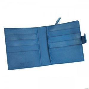 BOTTEGA VENETA(ボッテガベネタ) 二つ折り財布(小銭入れ付) PORTAMONETE INTRECCI 114073 4303 ライトブルー (H11×W12×D3)