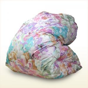 シノン生地使用の羽毛掛け布団 シングル ホワイトダックダウン90% ツインキルト エレガント花柄