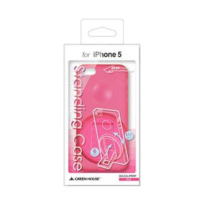 GREENHOUSE iPhone5用スタンド付きシェルカバー ピンク GH-CA-IP5RP