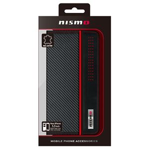 NISSAN 公式ライセンス品 NISMO CARBON LEATHER BOOK TYPE CASE iPhone6 PLUS用 NM-P55B1BK