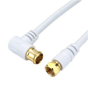 (まとめ)HORIC アンテナケーブル 10m ホワイト F型差込式/ネジ式コネクタ L字/ストレートタイプ HAT100-045LSWH【×5セット】