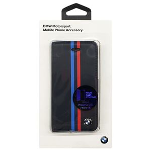 BMW 公式ライセンス品 Booktype case - PU Leather - Split Tricolor Stripe - Card Slot -Blue BMFLBKPSESVSN
