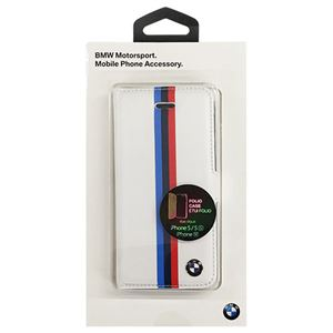 BMW 公式ライセンス品 Booktype case - PU Leather - Split Tricolor Stripe - Card Slot -White BMFLBKPSESVSW