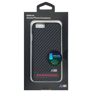 BMW 公式ライセンス品 Hard Case - PU Carbon Print - Stripe Pipping - Red iPhone 6/6S BMHCP6HSCR