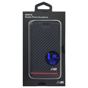 BMW 公式ライセンス品 Booktype Case - PU Carbon Print - Stripe Pipping - Red iPhone 6/6S BMFLBKP6HSCR