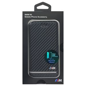 BMW 公式ライセンス品 Booktype Case - PU Carbon Print - Stripe Pipping - Silver iPhone 6/6S BMFLBKP6HSCS