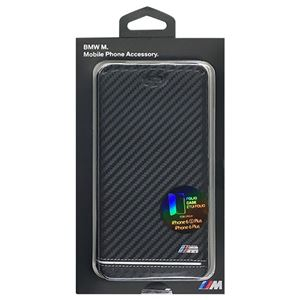 BMW 公式ライセンス品 Booktype Case - PU Carbon Print - Stripe Pipping - Silver iPhone 6s Plus/6 Plus BMFLBKP6LHSCS