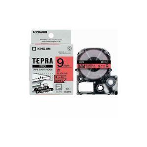 (まとめ) キングジム テプラ きれいにはがせるラベルテープ (赤テープ/黒文字/9mm幅) SC9RE 【×5セット】