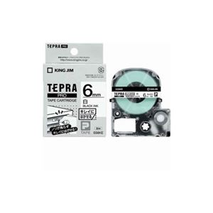 (まとめ) キングジム テプラ きれいにはがせるラベルテープ (白テープ/黒文字/6mm幅) SS6KE 【×5セット】