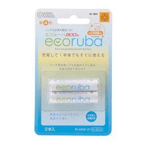 (まとめ) オーム電機 ecoruba ニッケル水素充電池 単4形2本パック BT-JUTG412P 【×10セット】