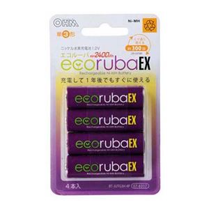 (まとめ) オーム電機 ecorubaEX ニッケル水素充電池 大容量タイプ 単3形4本パック BT-JUTG3H4P 【×5セット】