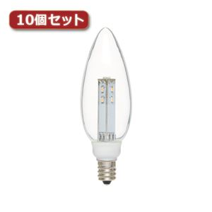 YAZAWA C32形LEDランプ電球色E12クリア10個セット LDC1LG32E123X10