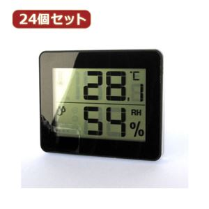 YAZAWA 24個セット デジタル温湿度計 ブラック DO01BKX24