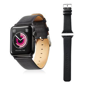 エレコム Apple Watch 38mm/ソフトレザーバンド/フラットスクエアタイプ/ブラック AW-38BDLFSBK