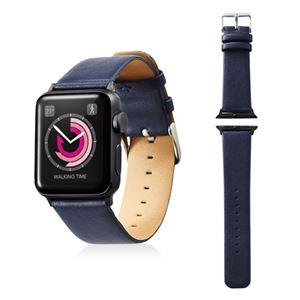 エレコム Apple Watch 38mm/ソフトレザーバンド/フラットスクエアタイプ/ネイビー AW-38BDLFSBU