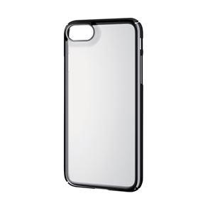 (まとめ)エレコム iPhone8/シェルカバー/極み/サイドメッキ/ブラック PM-A17MPVKMBK【×2セット】